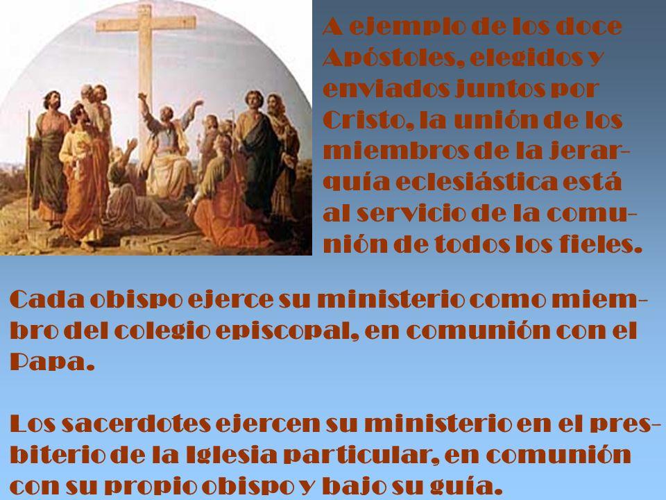 A ejemplo de los doce Apóstoles, elegidos y. enviados juntos por. Cristo, la unión de los. miembros de la jerar-