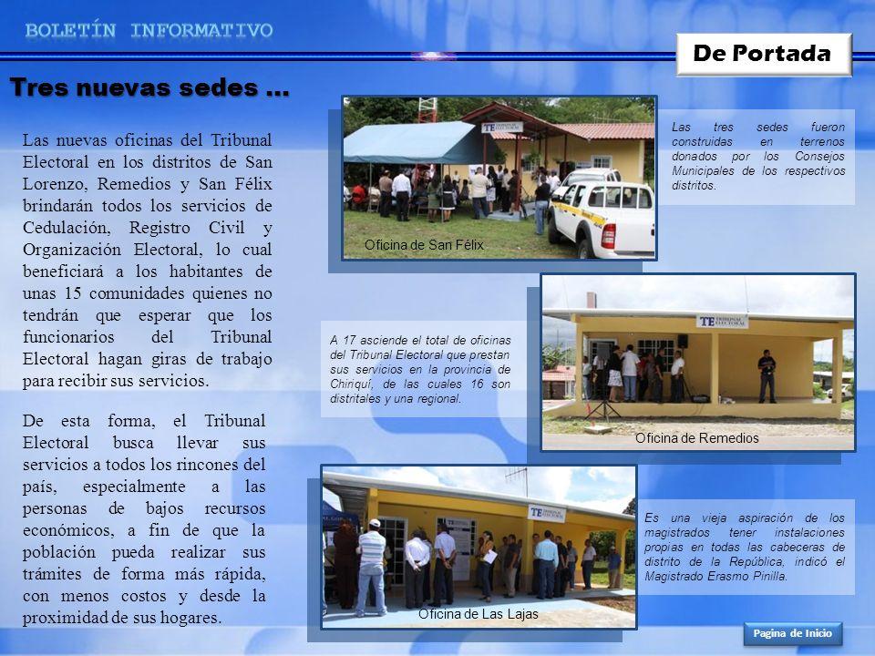 De Portada Tres nuevas sedes … BOLETíN INFORMATIVO