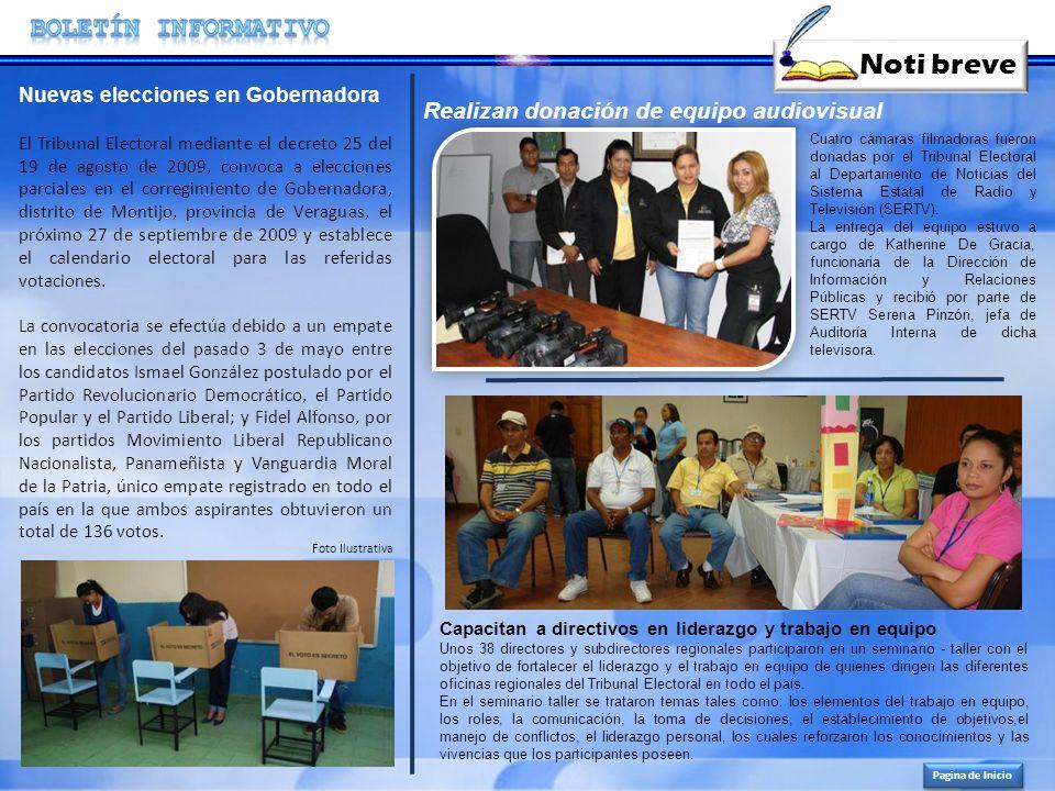 Noti breve BOLETíN INFORMATIVO Realizan donación de equipo audiovisual