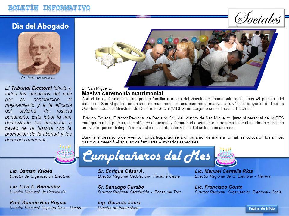 Sociales Cumpleañeros del Mes BOLETíN INFORMATIVO Día del Abogado