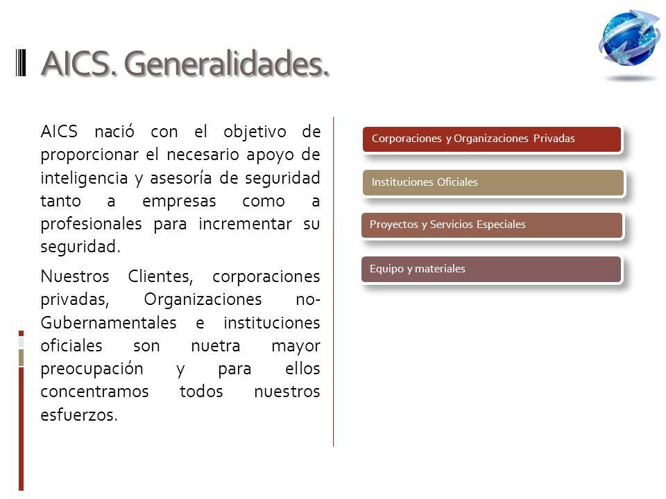 AICS. Generalidades. Corporaciones y Organizaciones Privadas. Instituciones Oficiales. Proyectos y Servicios Especiales.
