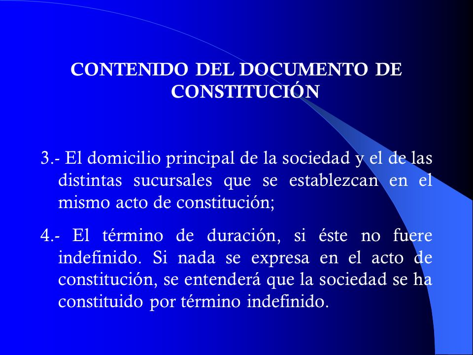 CONTENIDO DEL DOCUMENTO DE CONSTITUCIÓN