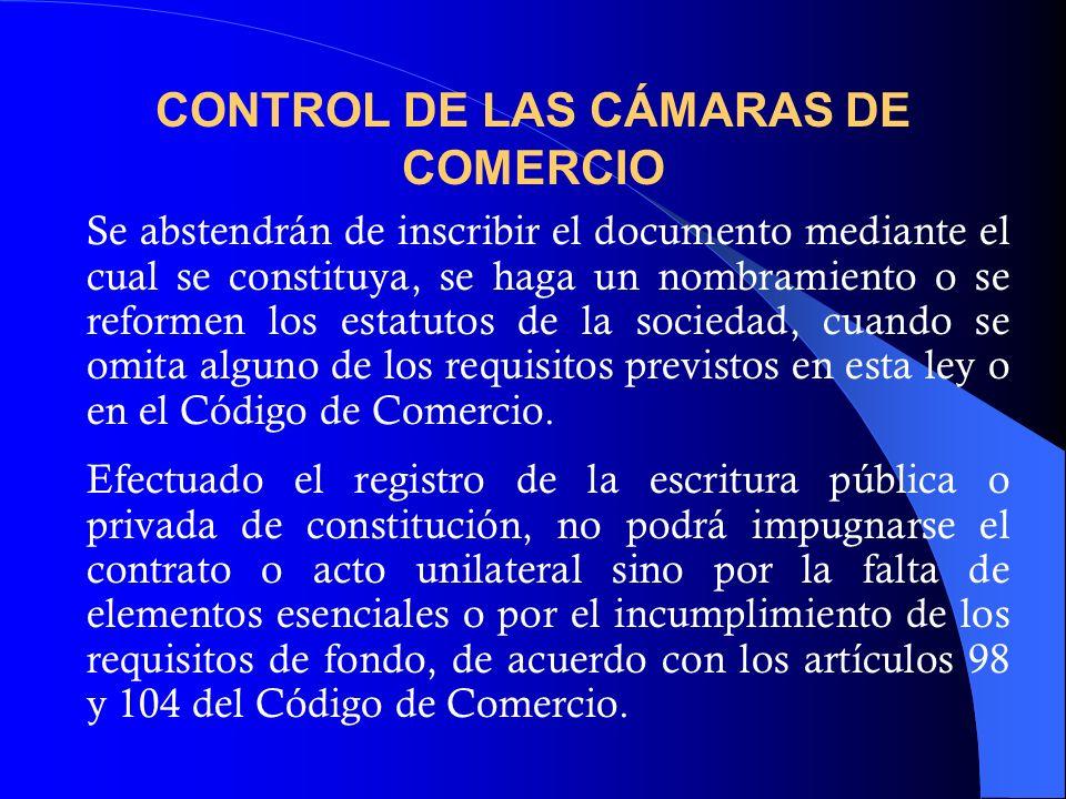 CONTROL DE LAS CÁMARAS DE COMERCIO