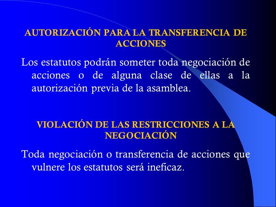 AUTORIZACIÓN PARA LA TRANSFERENCIA DE ACCIONES