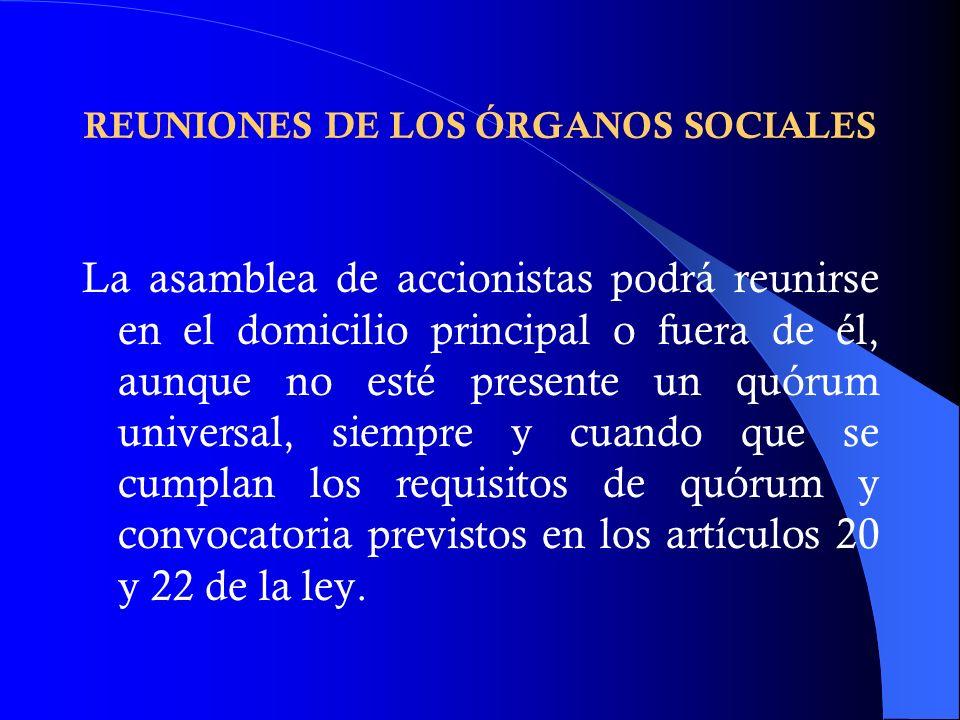 REUNIONES DE LOS ÓRGANOS SOCIALES