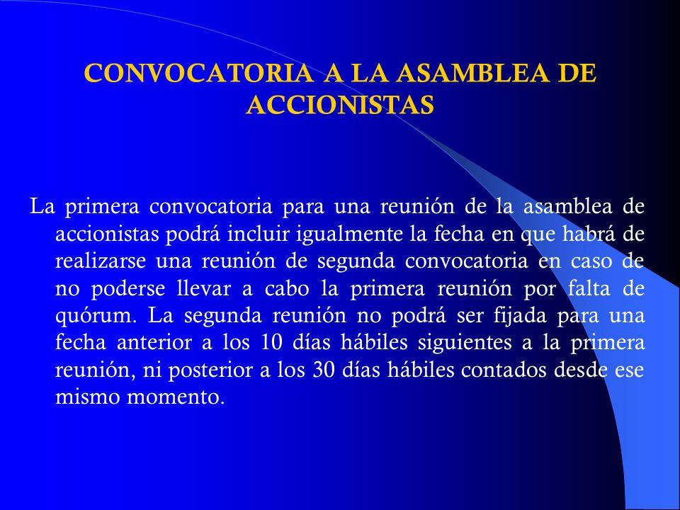 CONVOCATORIA A LA ASAMBLEA DE ACCIONISTAS
