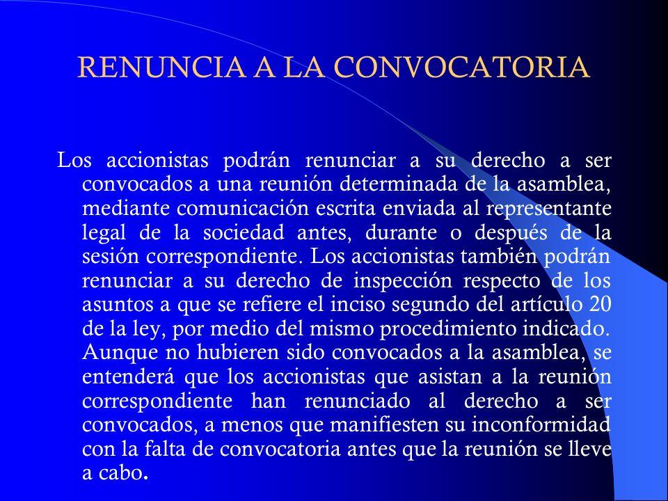 RENUNCIA A LA CONVOCATORIA