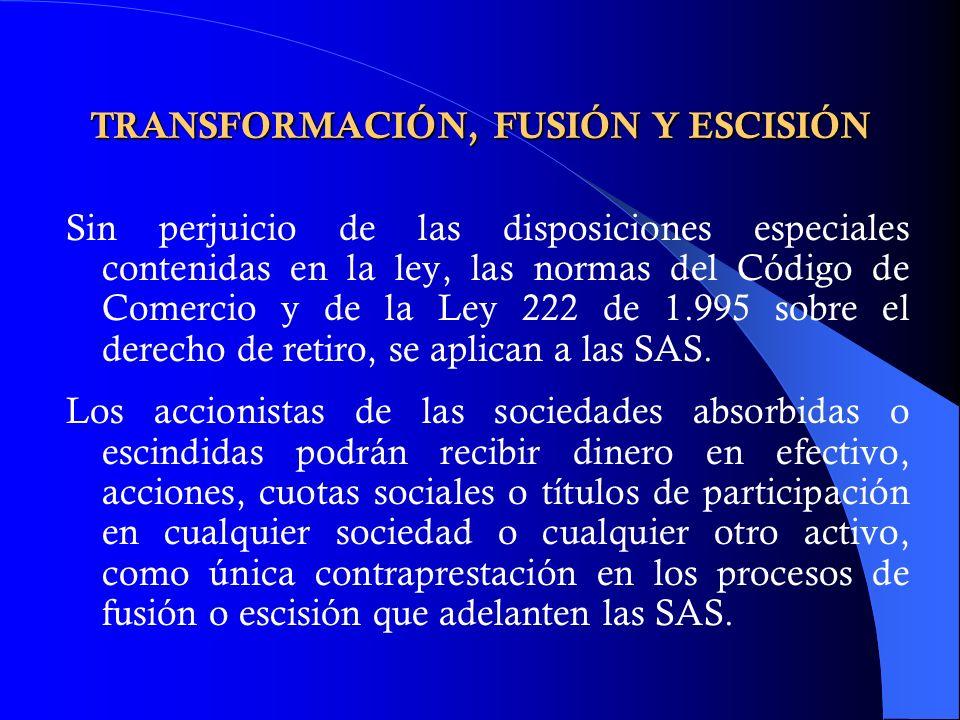 TRANSFORMACIÓN, FUSIÓN Y ESCISIÓN