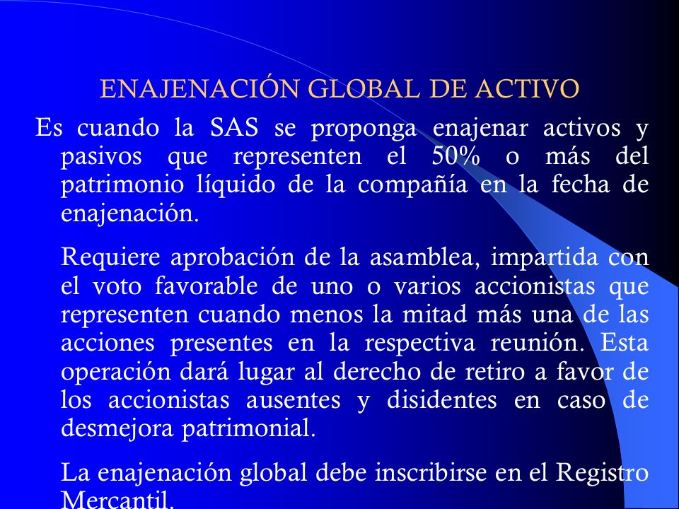 ENAJENACIÓN GLOBAL DE ACTIVO
