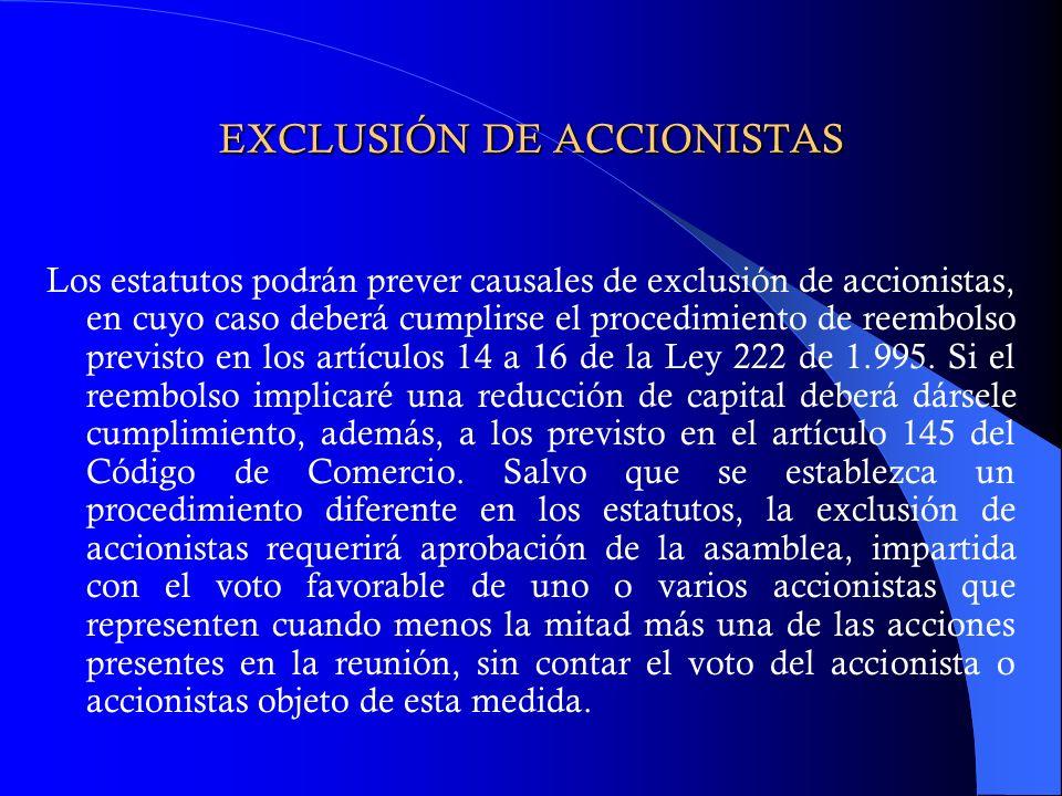 EXCLUSIÓN DE ACCIONISTAS