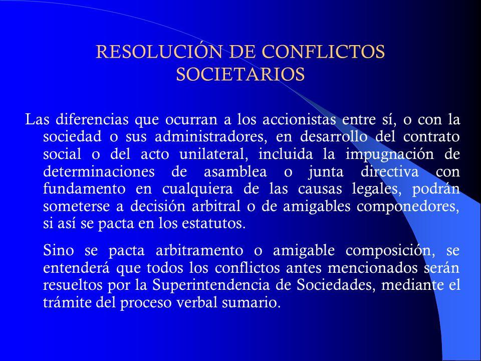 RESOLUCIÓN DE CONFLICTOS SOCIETARIOS