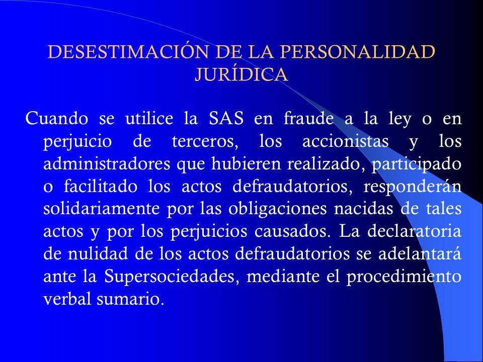 DESESTIMACIÓN DE LA PERSONALIDAD JURÍDICA