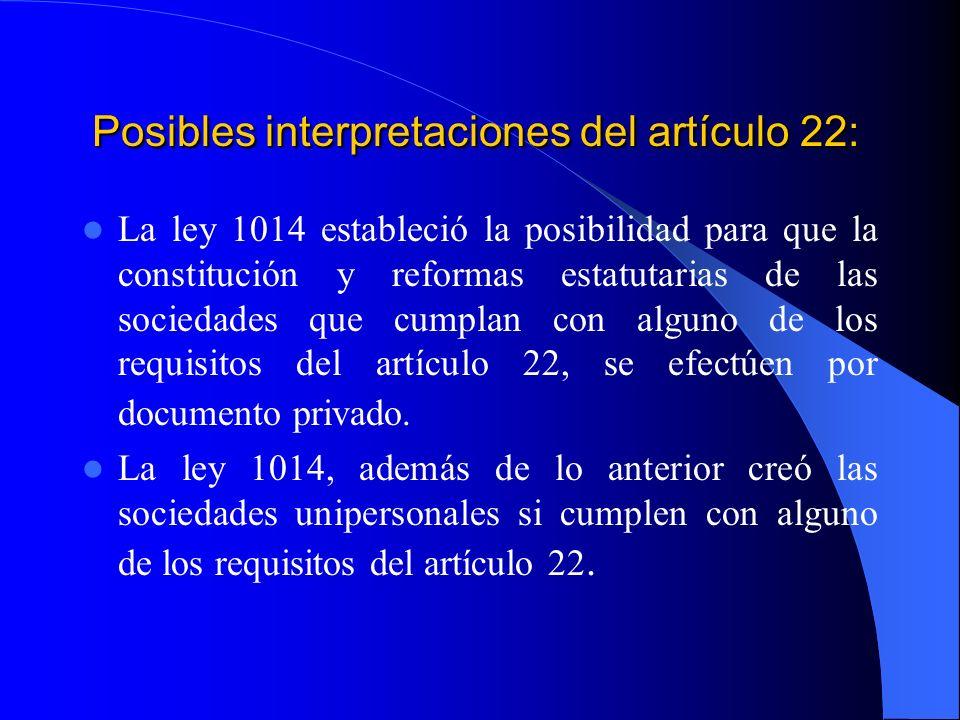 Posibles interpretaciones del artículo 22: