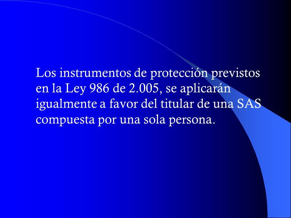 Los instrumentos de protección previstos en la Ley 986 de 2