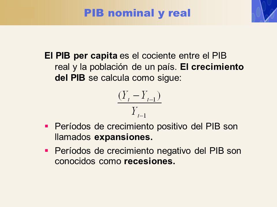PIB nominal y real El PIB per capita es el cociente entre el PIB real y la población de un país. El crecimiento del PIB se calcula como sigue: