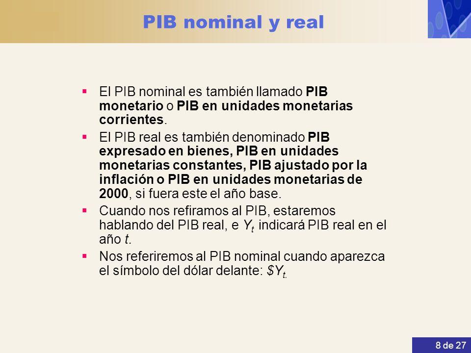 PIB nominal y real El PIB nominal es también llamado PIB monetario o PIB en unidades monetarias corrientes.