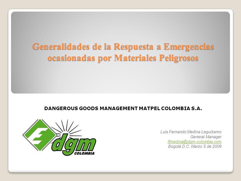 DANGEROUS GOODS MANAGEMENT MATPEL COLOMBIA S.A.