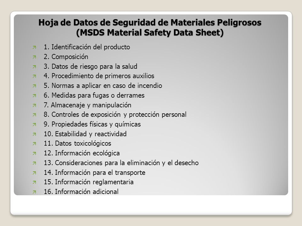 Hoja de Datos de Seguridad de Materiales Peligrosos (MSDS Material Safety Data Sheet)