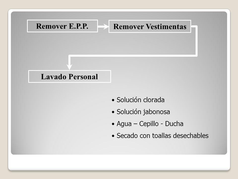 Remover E.P.P. Remover Vestimentas Lavado Personal
