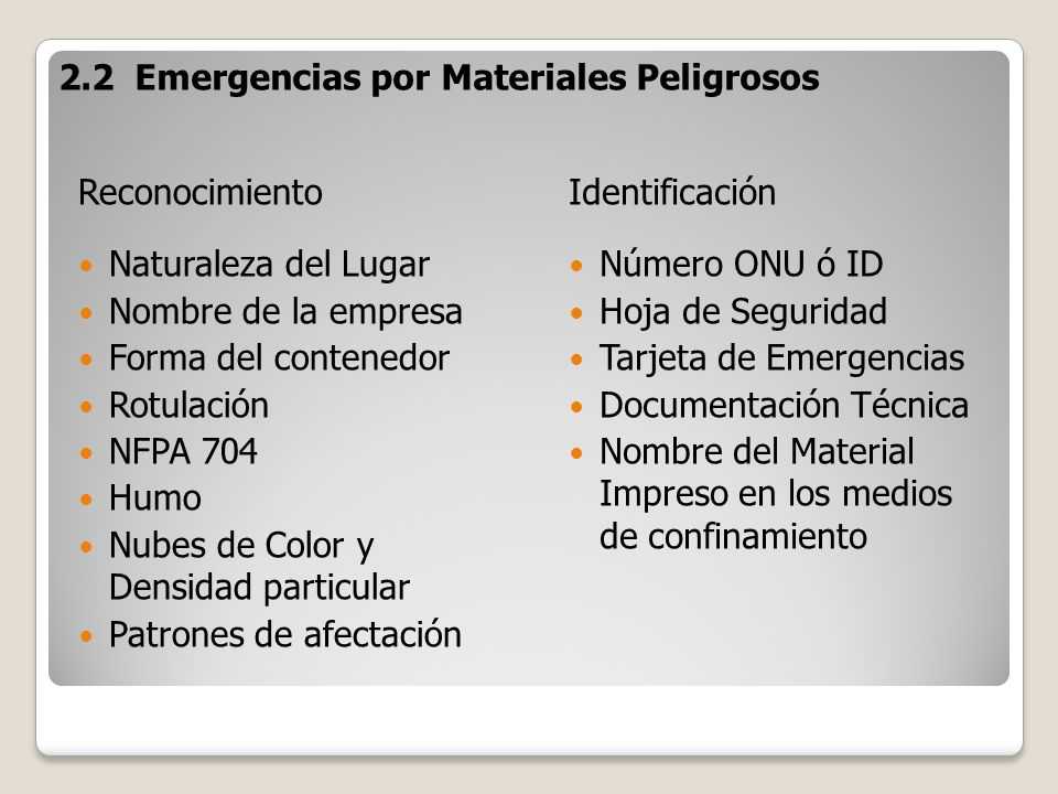 2.2 Emergencias por Materiales Peligrosos