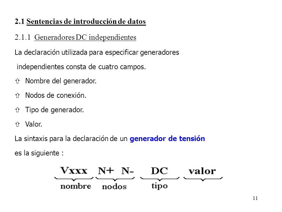 2.1 Sentencias de introducción de datos