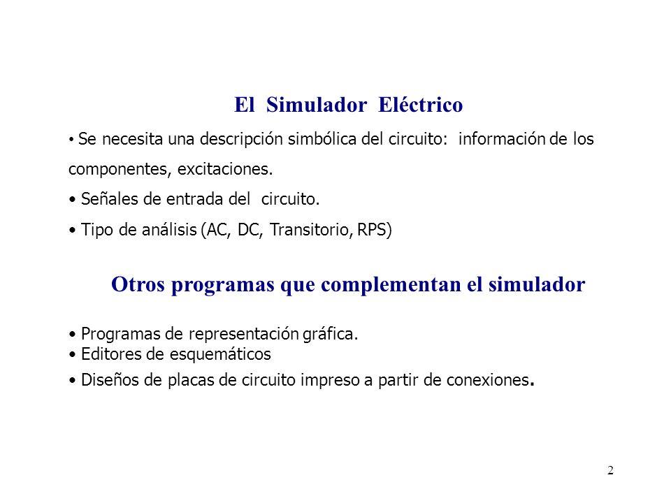 El Simulador Eléctrico Otros programas que complementan el simulador