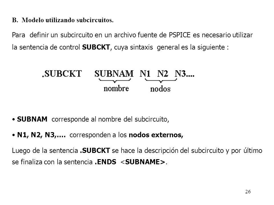 B. Modelo utilizando subcircuitos.