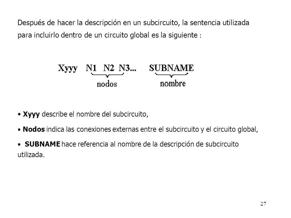Xyyy describe el nombre del subcircuito,