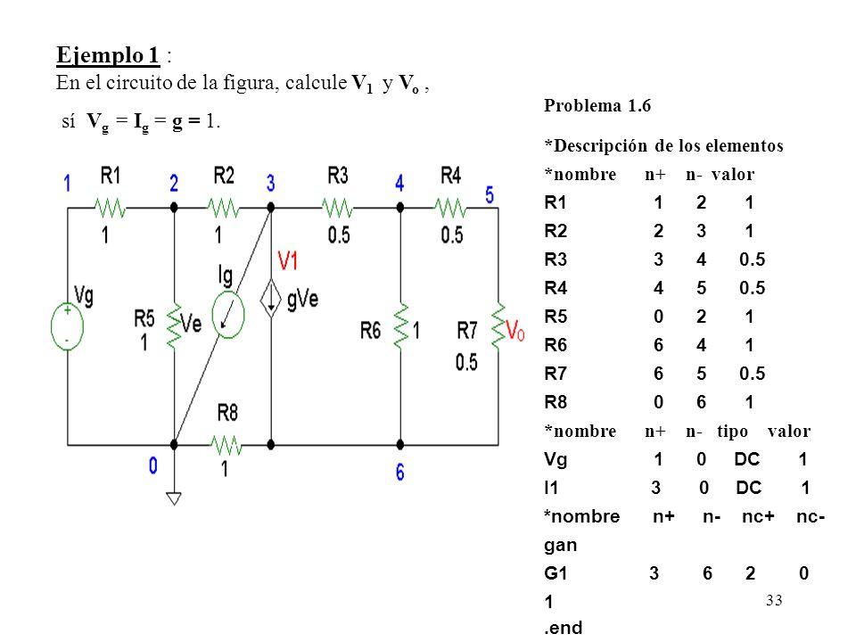 Ejemplo 1 : En el circuito de la figura, calcule V1 y Vo ,