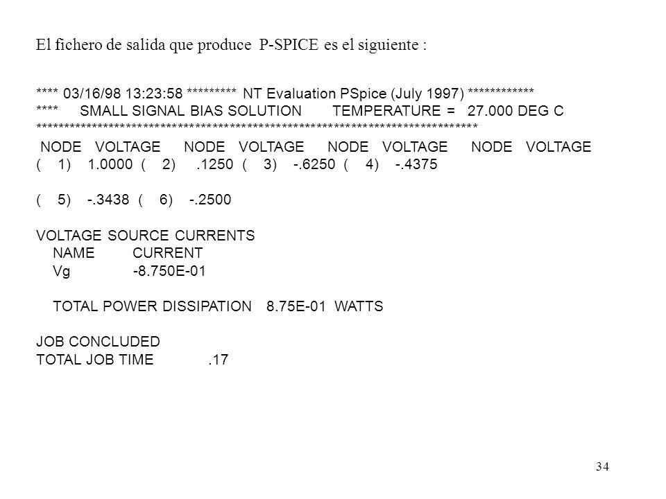 El fichero de salida que produce P-SPICE es el siguiente :