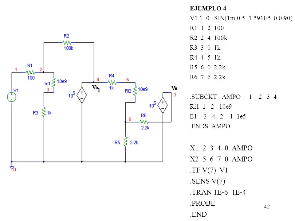 X1 2 3 4 0 AMPO X2 5 6 7 0 AMPO .TF V(7) V1 .SENS V(7) .TRAN 1E-6 1E-4