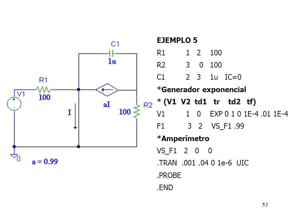 EJEMPLO 5 R1 1 2 100. R2 3 0 100. C1 2 3 1u IC=0. *Generador exponencial.