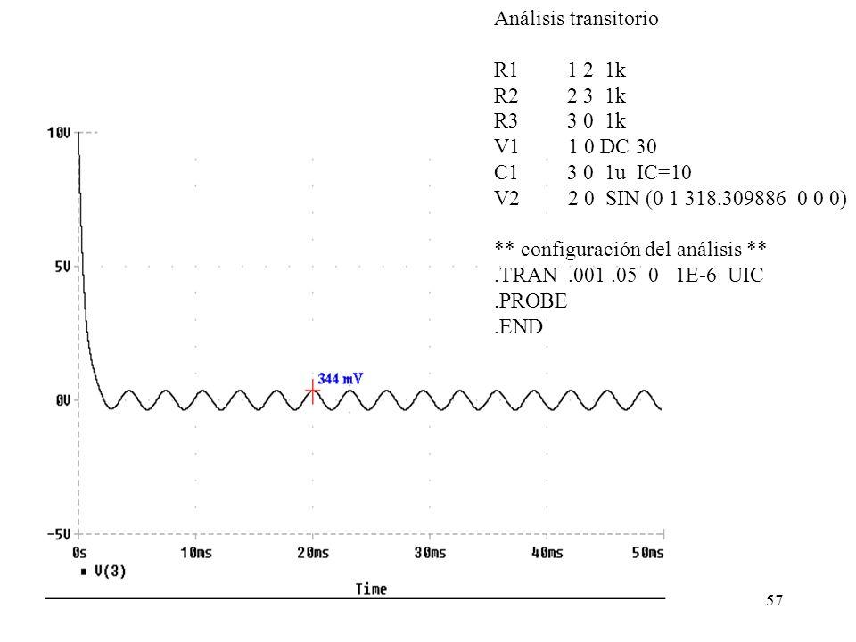 Análisis transitorioR1 1 2 1k. R2 2 3 1k. R3 3 0 1k. V1 1 0 DC 30.