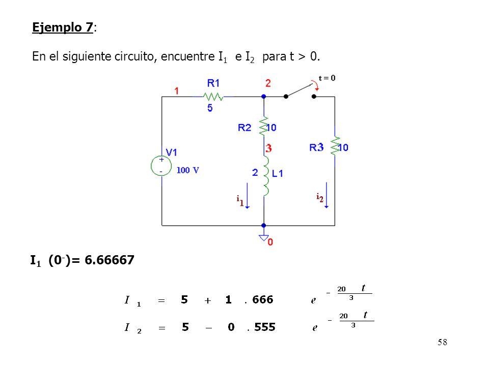 Ejemplo 7: En el siguiente circuito, encuentre I1 e I2 para t > 0. I1 (0-)= 6.66667