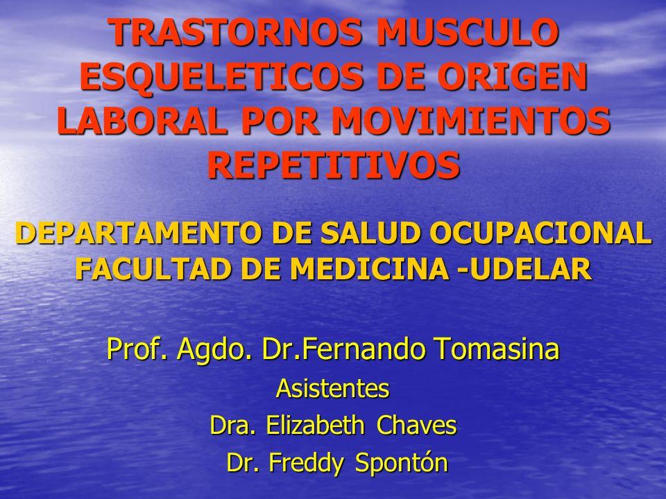 TRASTORNOS MUSCULO ESQUELETICOS DE ORIGEN LABORAL POR MOVIMIENTOS REPETITIVOS