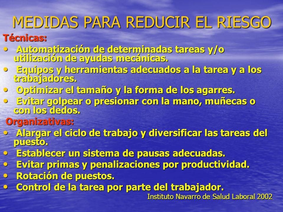 MEDIDAS PARA REDUCIR EL RIESGO