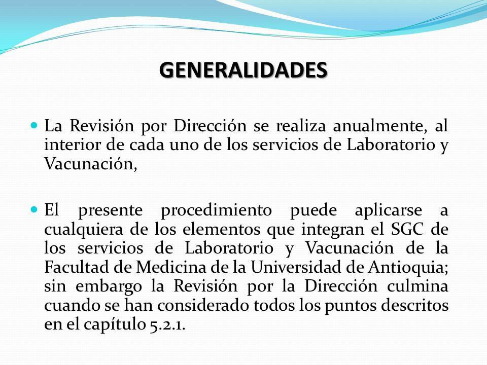 GENERALIDADES La Revisión por Dirección se realiza anualmente, al interior de cada uno de los servicios de Laboratorio y Vacunación,