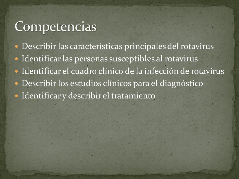 Competencias Describir las características principales del rotavirus