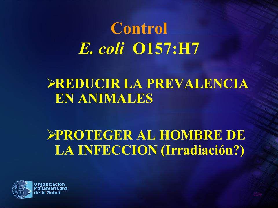 Control E. coli O157:H7 REDUCIR LA PREVALENCIA EN ANIMALES