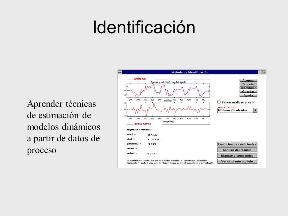Identificación Aprender técnicas de estimación de modelos dinámicos a partir de datos de proceso
