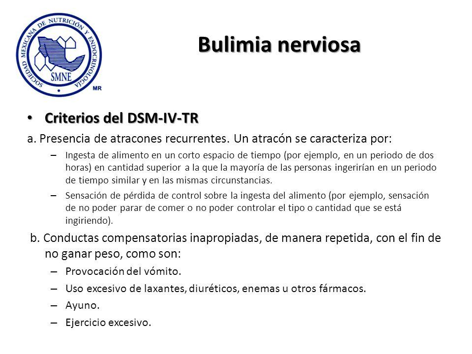 Bulimia nerviosa Criterios del DSM-IV-TR