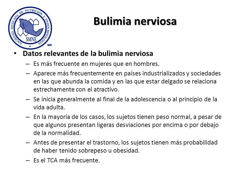Bulimia nerviosa Datos relevantes de la bulimia nerviosa