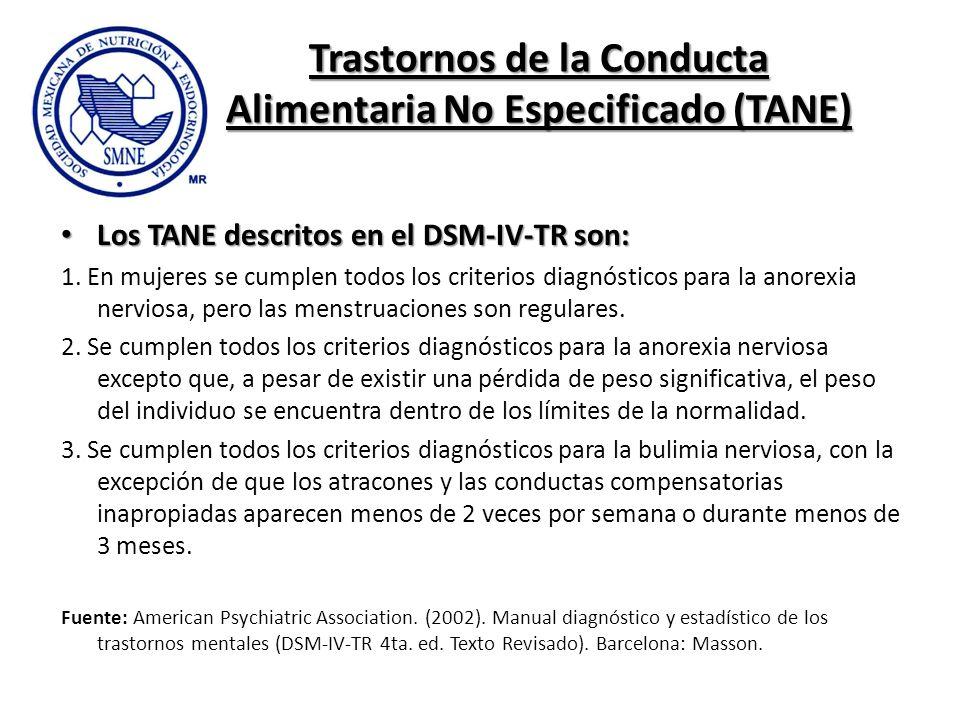 Trastornos de la Conducta Alimentaria No Especificado (TANE)