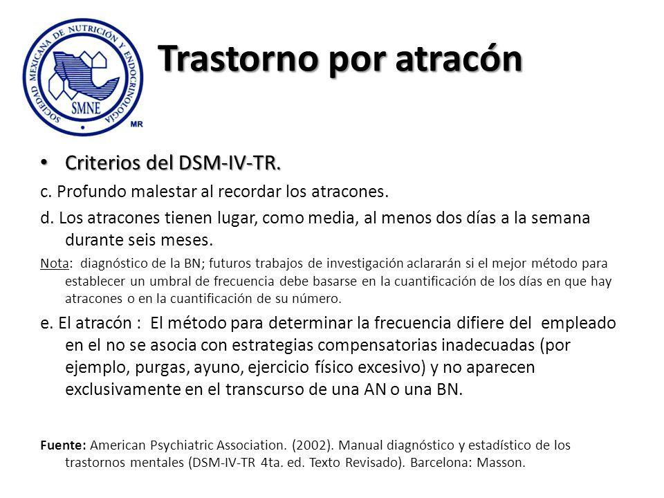 Trastorno por atracón Criterios del DSM-IV-TR.
