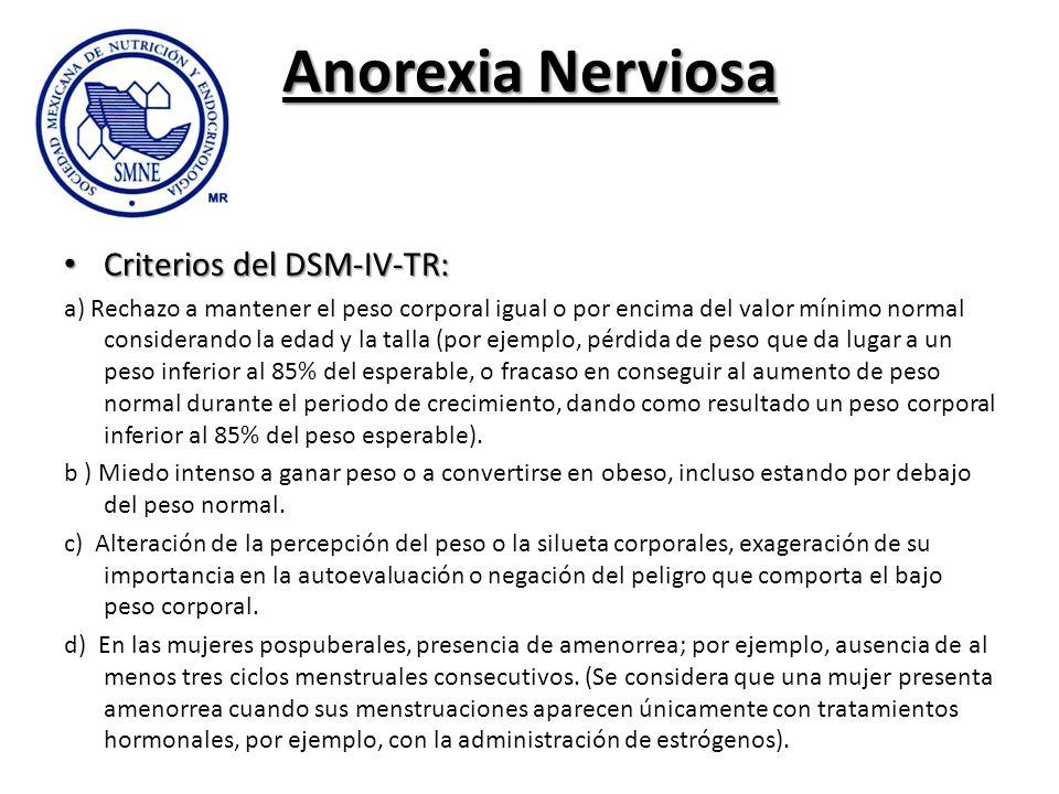 Anorexia Nerviosa Criterios del DSM-IV-TR: