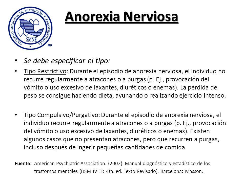Anorexia Nerviosa Se debe especificar el tipo: