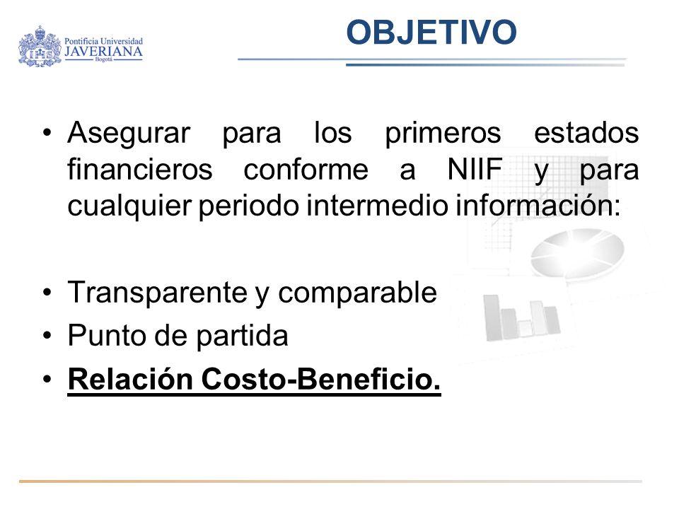 OBJETIVO Asegurar para los primeros estados financieros conforme a NIIF y para cualquier periodo intermedio información: