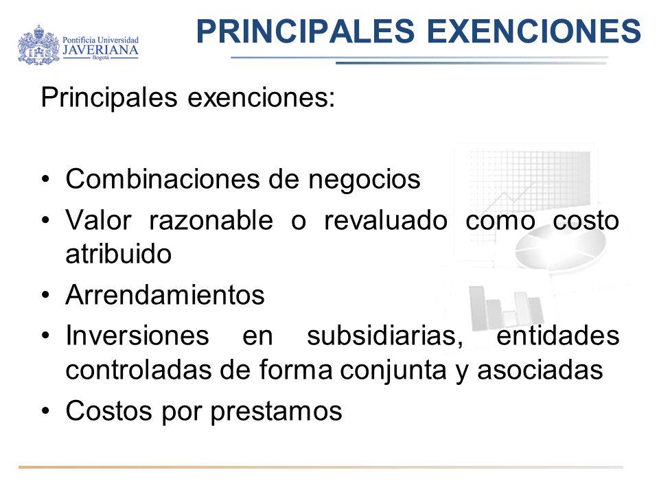 PRINCIPALES EXENCIONES