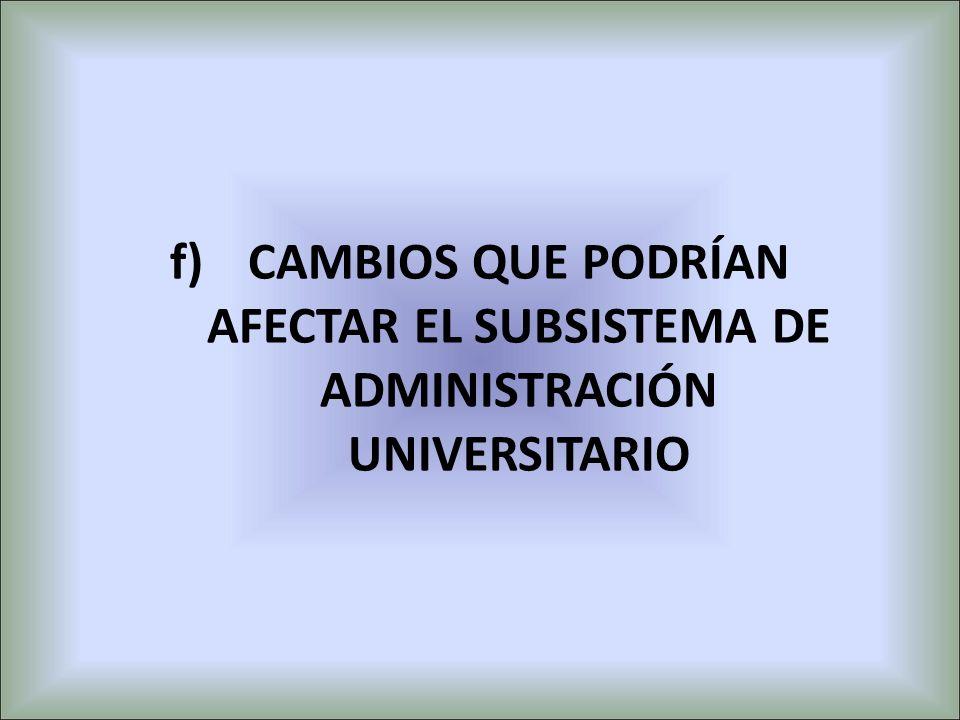 CAMBIOS QUE PODRÍAN AFECTAR EL SUBSISTEMA DE ADMINISTRACIÓN UNIVERSITARIO