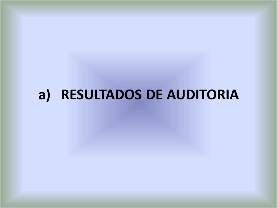 RESULTADOS DE AUDITORIA